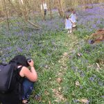 twins sharing photos taken in the bluebells