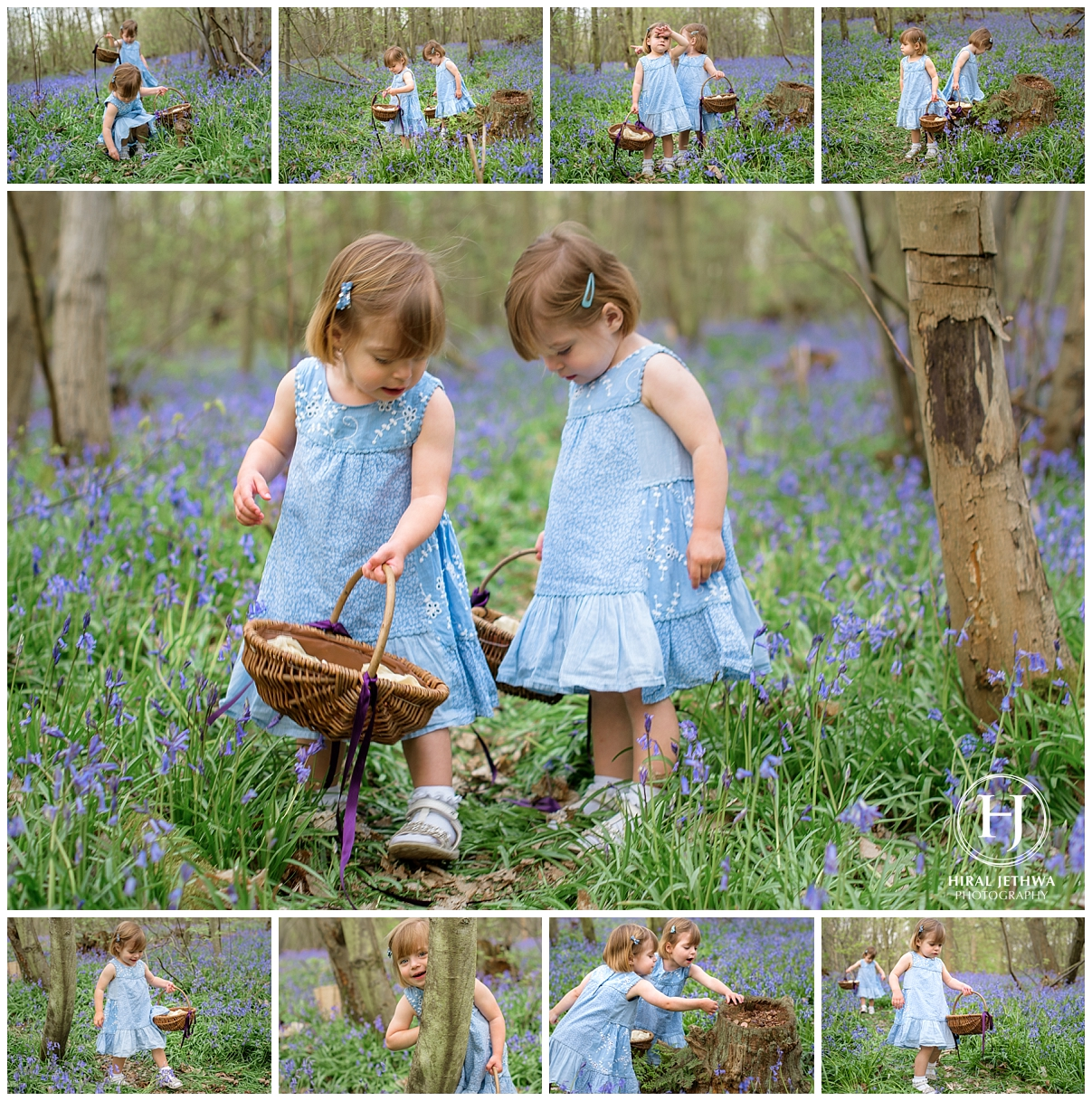 twins playing amongst the bluebells