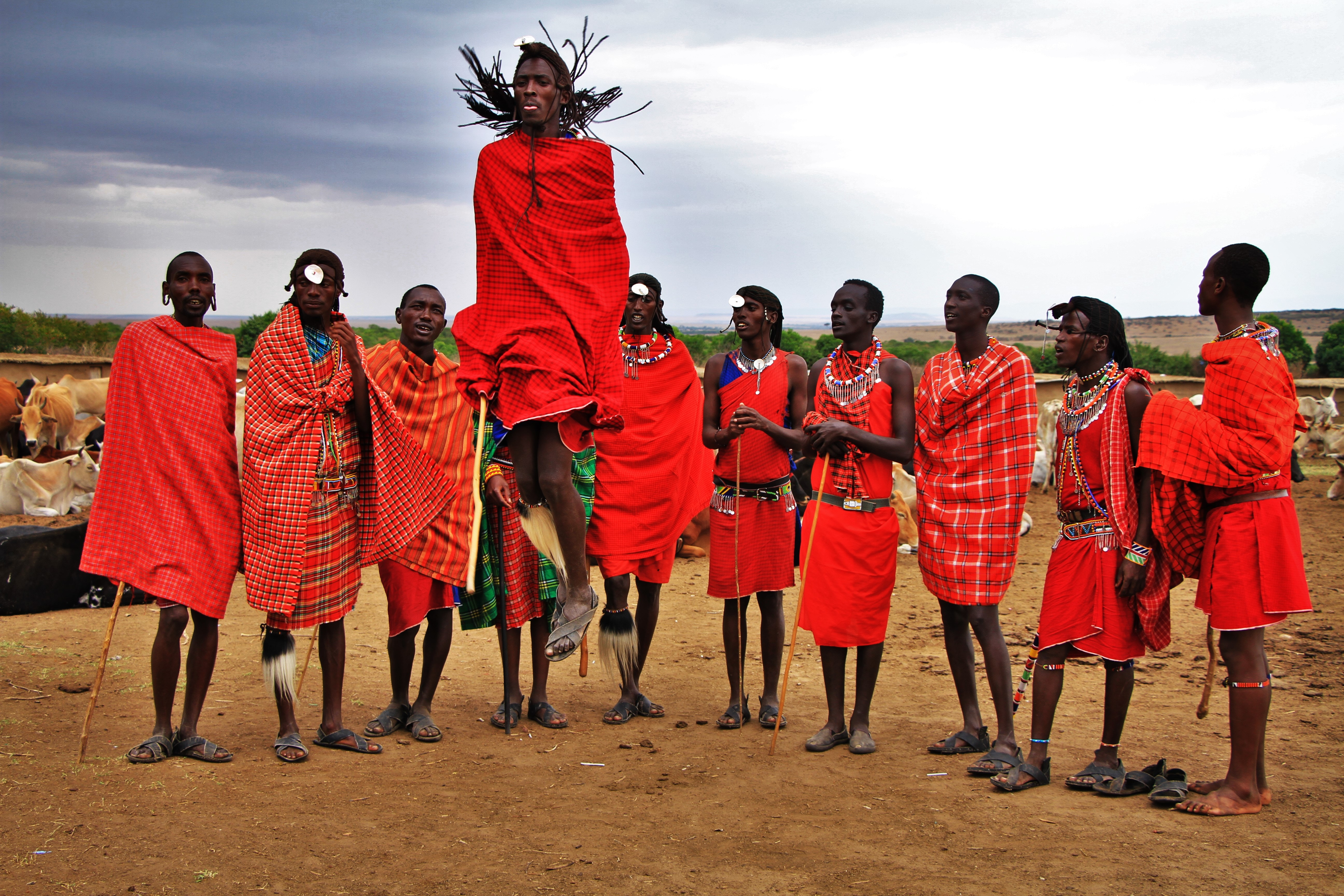 Maasi men dancing in Kenya