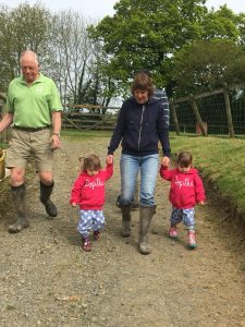 Farmer Chris and Tracey with the Popitha Twins at North Bradbury Farm