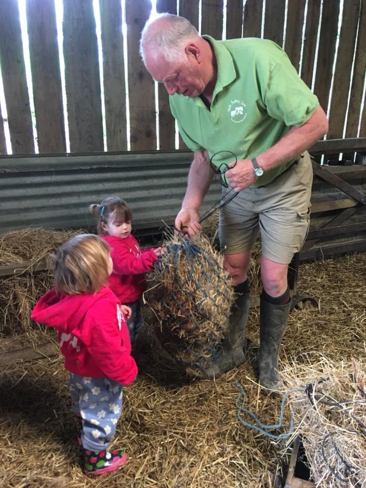 The Popitha Twins are feeding the ponies at North Bradbury Farm