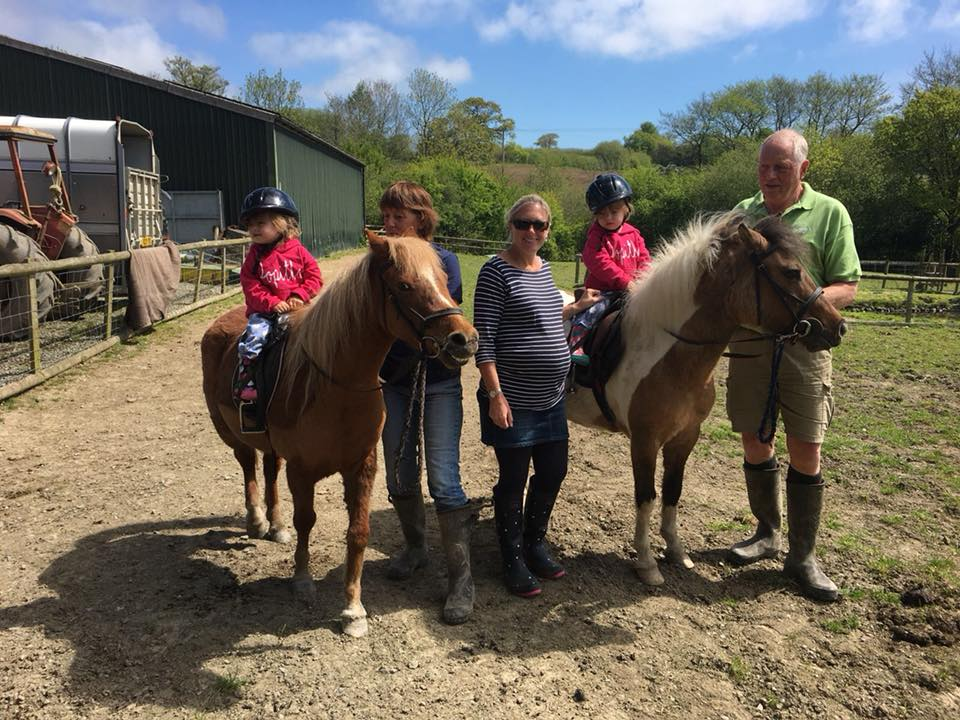 Family travel to North Bradbury farm. Twins horse riding