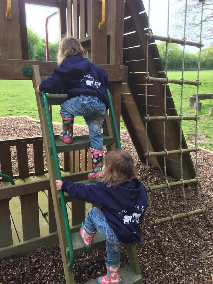 The Popitha Twins playing in the outdoor play area North Bradbury Farm