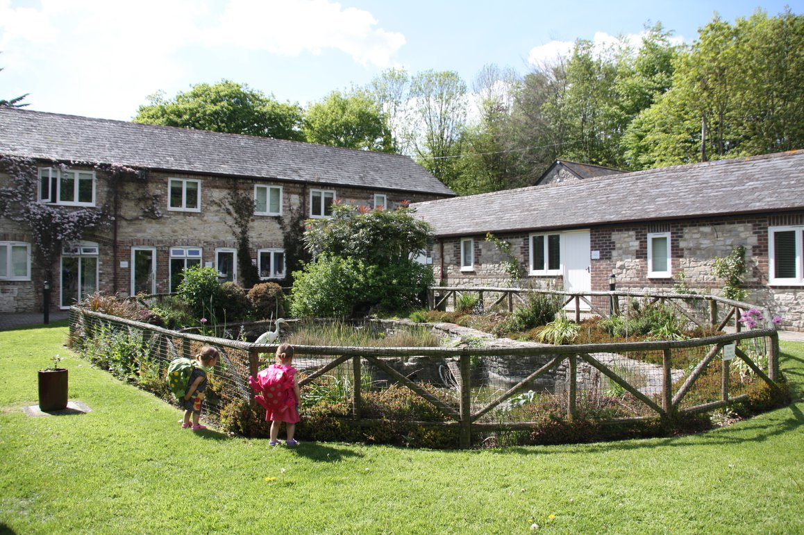 family travel to Greenwood Grange in Dorset. Cottages with pond in front and twins looking in