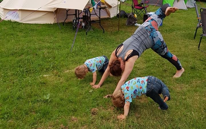 Mother of twins doing yoga