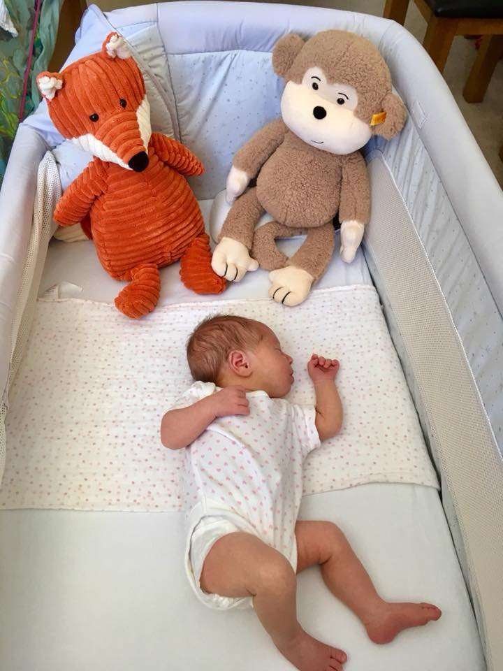 Baby in cot with Stiff and Jellycat teddies from The Bear Garden