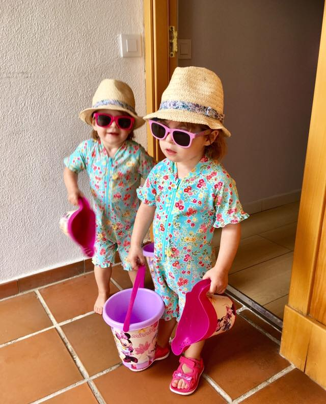 Twins going to the beach