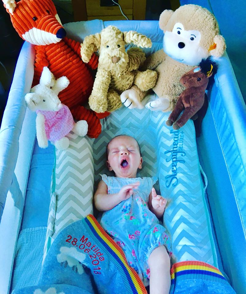 Baby asleep in the sleepyhead with toys from the bear garden