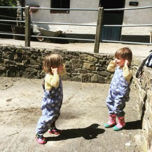 twins playing outside