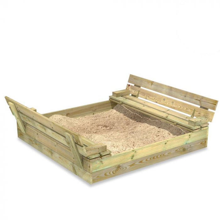 Wooden sandpit filled with sand