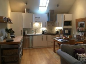 open plan kitchen at the Cowshed in Dorset