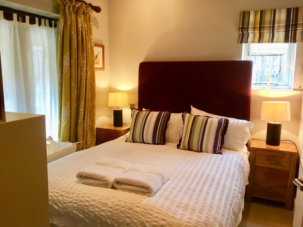 double bedroom at the Cowshed in Dorset