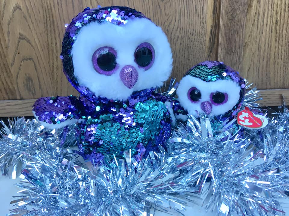 TY sequin Owls