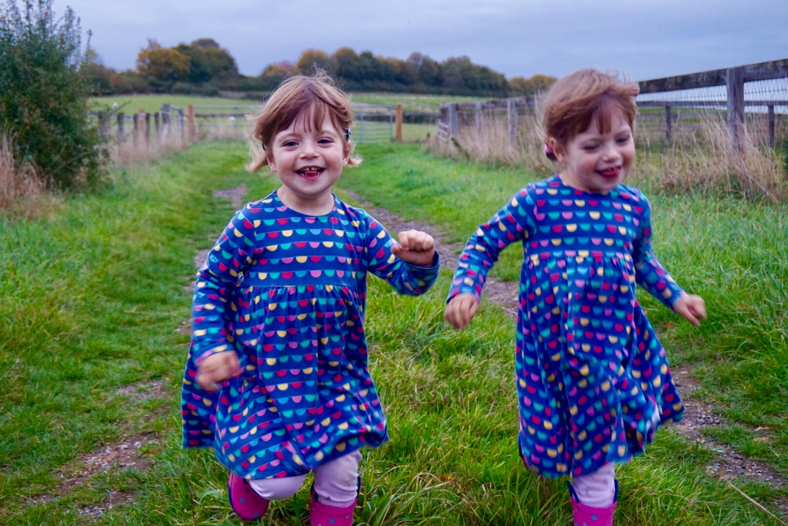 twins running about