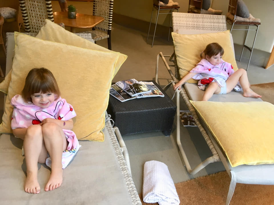 Twins chilling out in the spa at New Park Manor