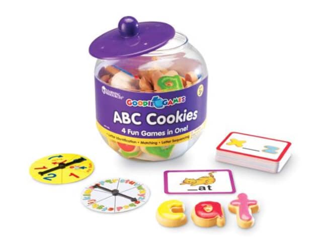 Learning to read through play with ABC cookies. Learning Resources toys.