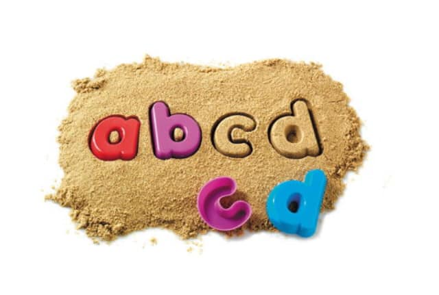 Learning to read through play with alphabet sand moulds. Learning Resources toys.