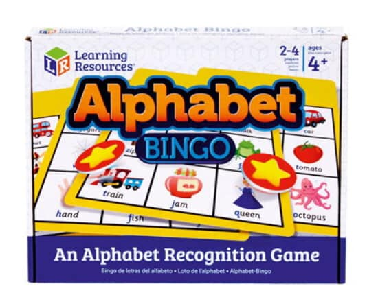Learning to read through play with alphabet bingo. Learning Resources toys.