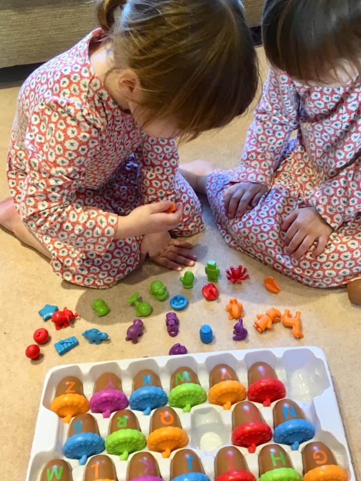 Learning to read through play with alphabet acorns activity set. Learning Resources toys.