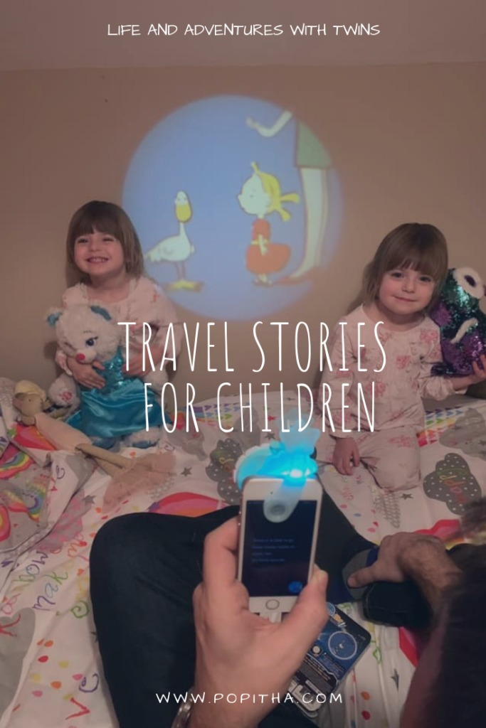 Moonlite stories being used by daddy and children. Perfect travel stories for children.
