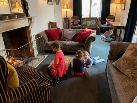 Children playing at The Woolly Grange in Wiltshire. A Luxury Family Hotel.