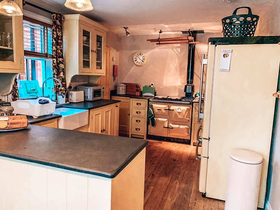 The kitchen in Spindle cottage. A family friendly cottage in the New Forest.