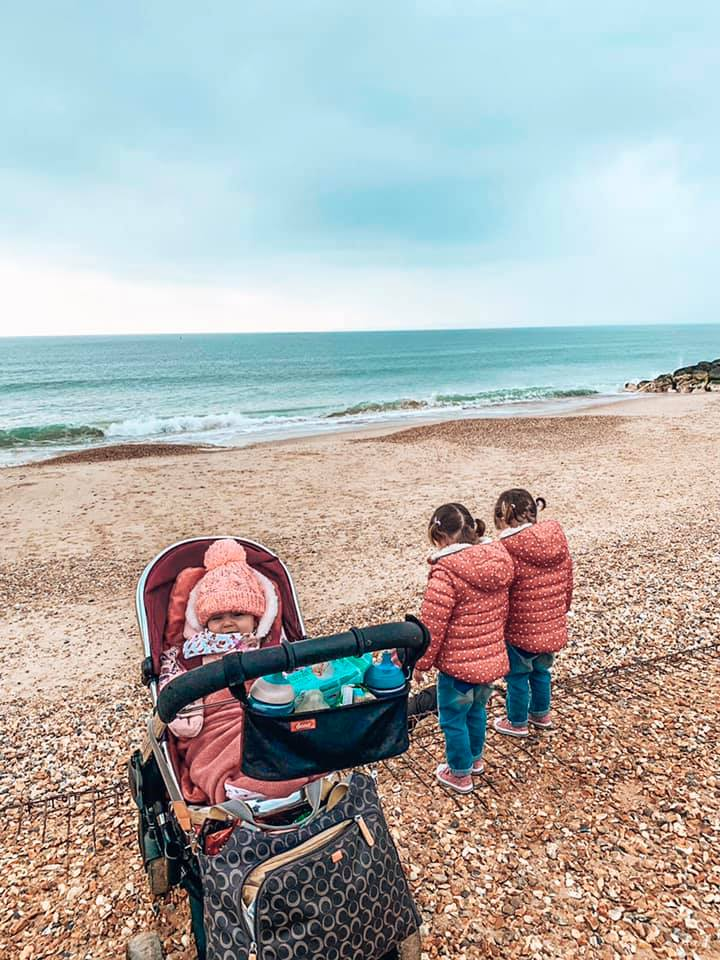 Hengistbury Head with the twins whilst staying in a family friendly cottage; Spindle Cottage with Baby Friendly Boltholes