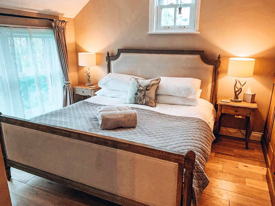 The master bedroom at Spindle cottage. A family friendly cottage in the New Forest.