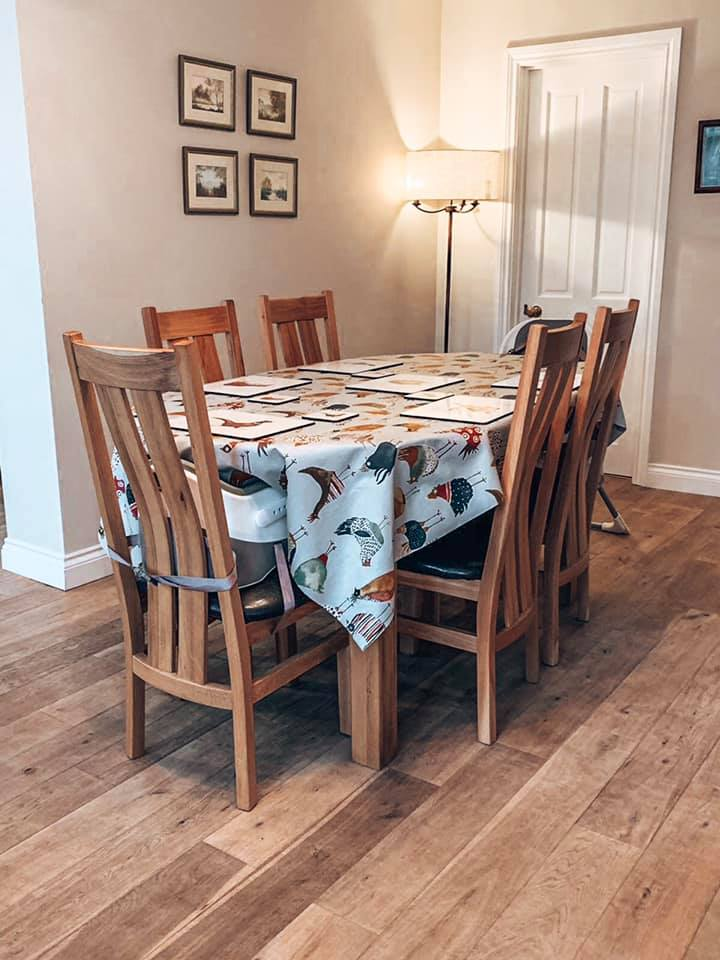 The dining room in Spindle cottage. A family friendly cottage in the New Forest.