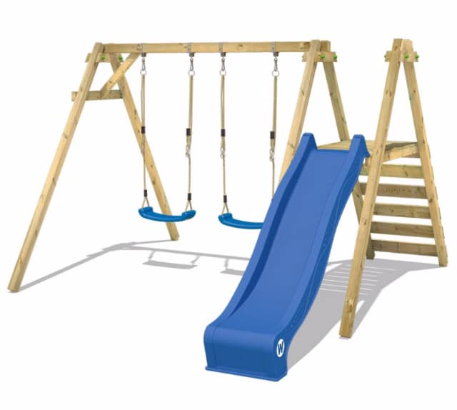 Wickey play equipment. Swings and a slide. Outdoor play ideas.