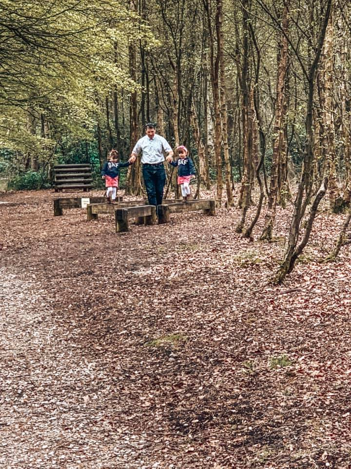 Waking and playing round the trim trail at Darwin Forest
