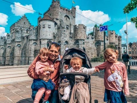 Gent, Belgium. Family outside a fairytale castle
