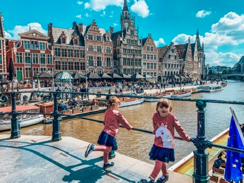 Gent, Belgium. twins looking at the river