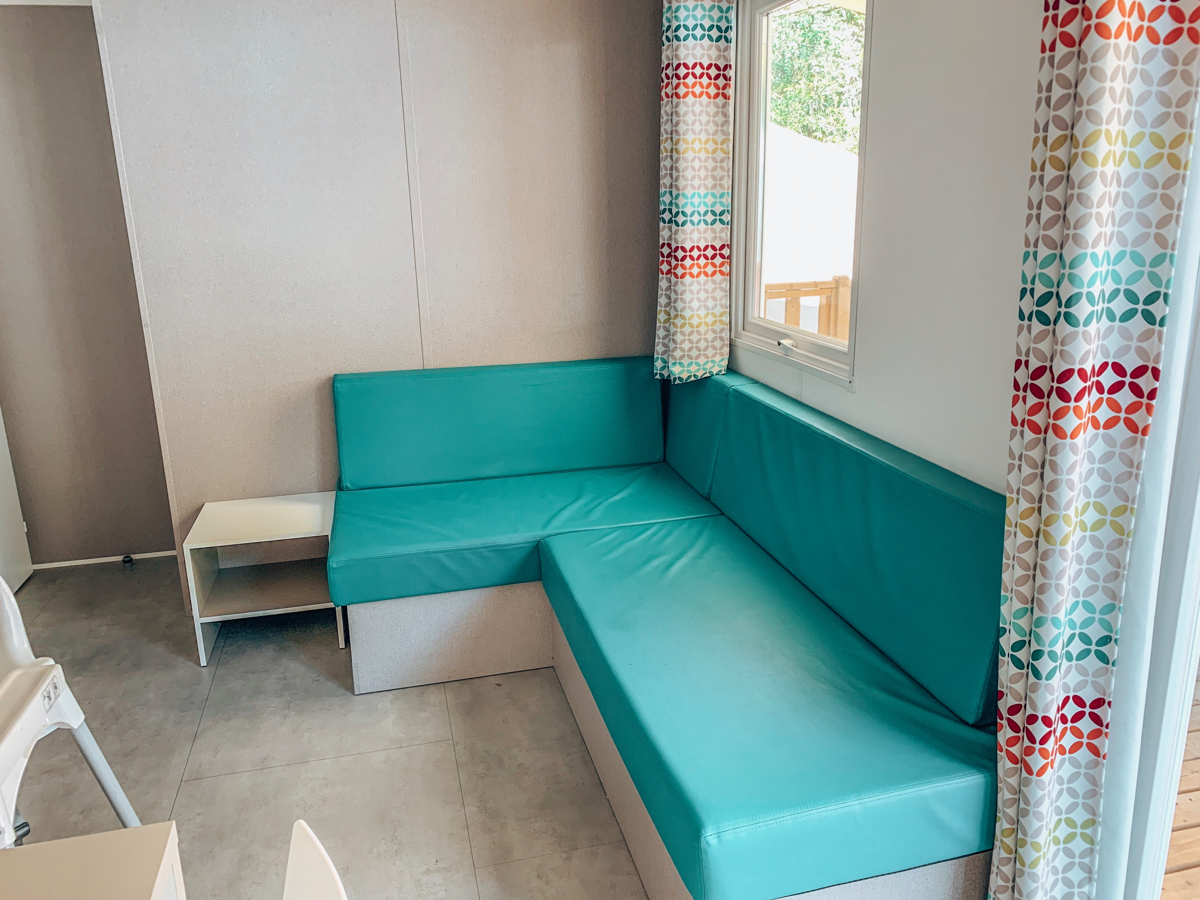 Living area in the Azure Eurocamp mobile home at Beekse Bergen, Holland.