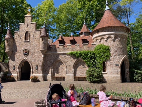 Efteling fairytale theme park. Twins outside the castle. Places to visit in Holland.