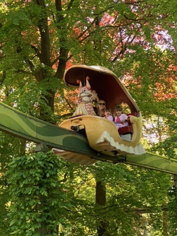 Efteling fairytale theme park. Twins on a carousel. Places to visit in Holland.