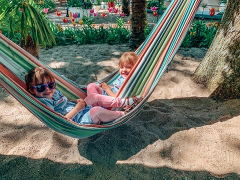 Keukonhof Tulip gardens in Holland. twins on a hammock. A great place to visit in Holland with kids.