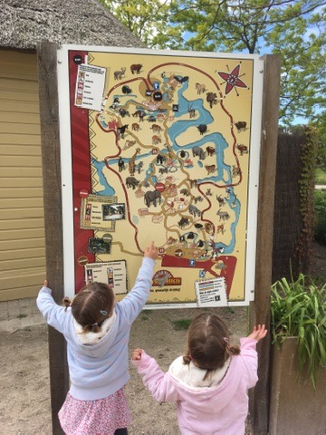 Twins looking at a map of Beeske Bergen Safari Park, Holland