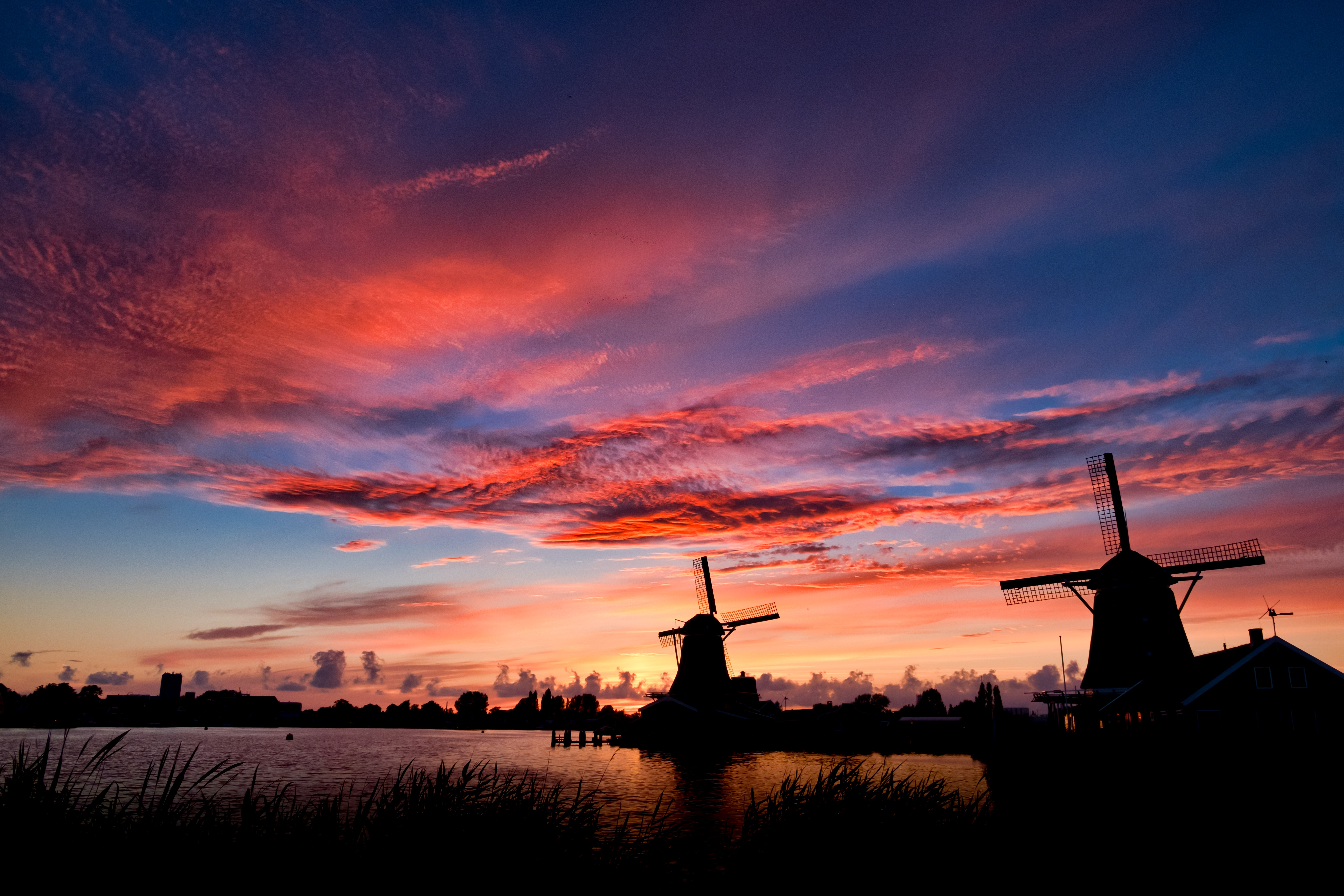 Driving in Holland with a view of a windmill at sunset