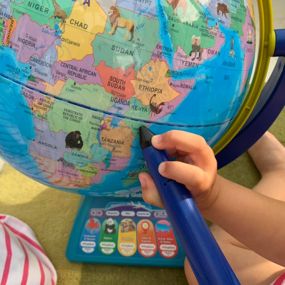 Close up of talking globe by Learning Resources