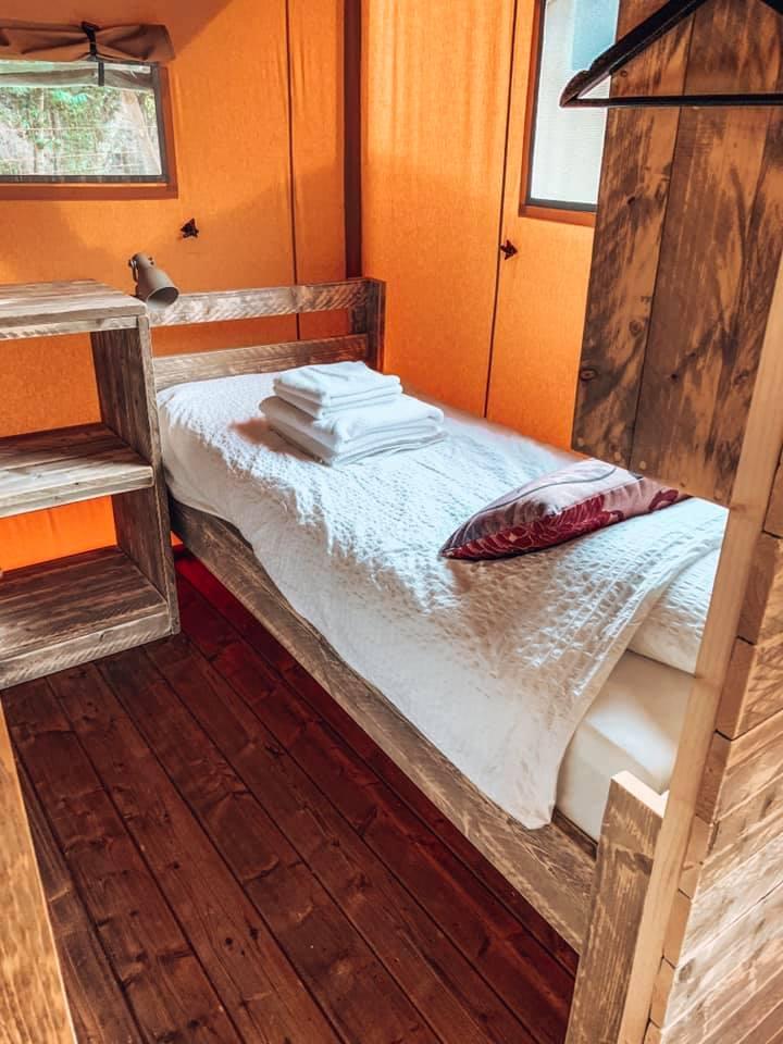 Single bed in safari lodge