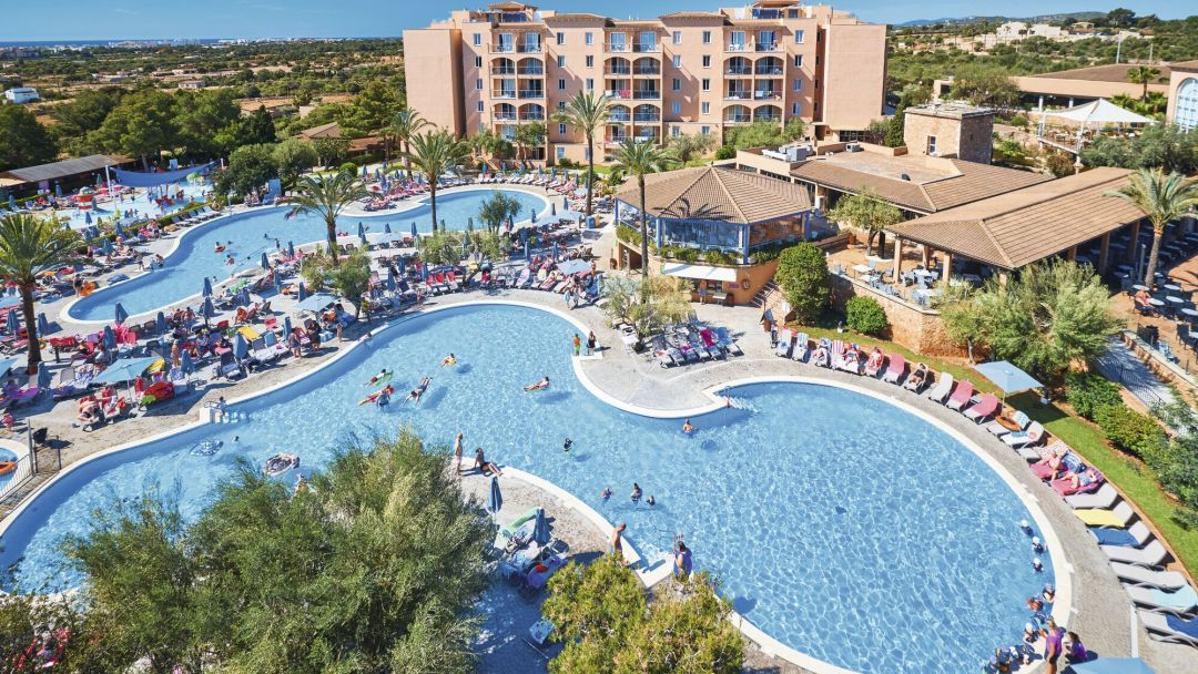 Holiday Village Majorca swimming pool complex , Cala Millor