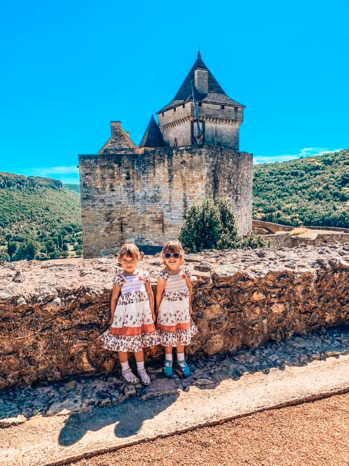 Chateau de Castelnaud twins standing at the top