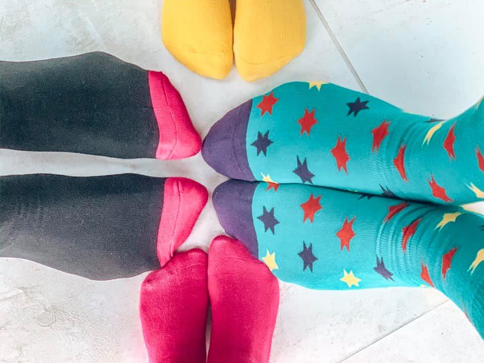 feet wearing Sock Shop socks