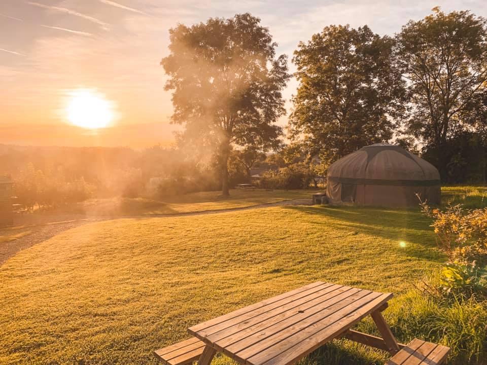 Sunrise over Yurts