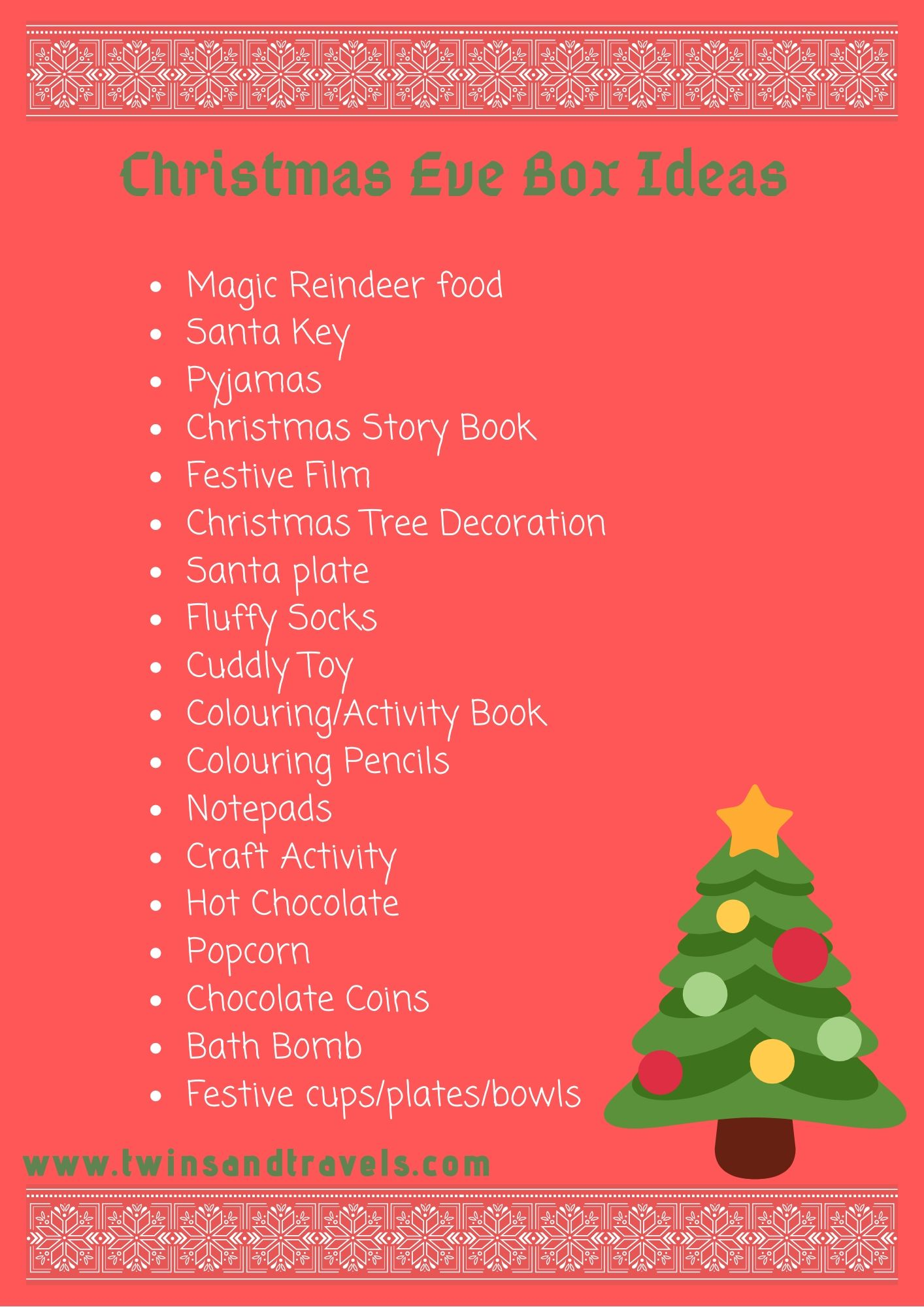 List of ideas of what to include in your Christmas eve box