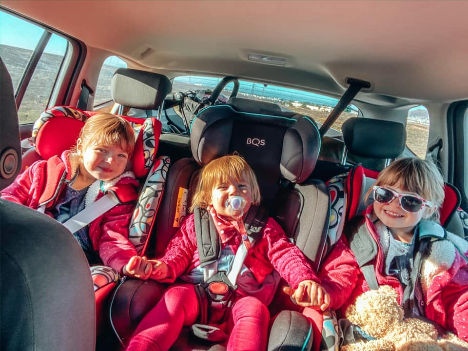 Children in the car - three across the back seat