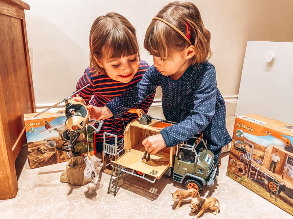 Children playing with the New Schleich Wild life Helicopter and Safari rescue truck!