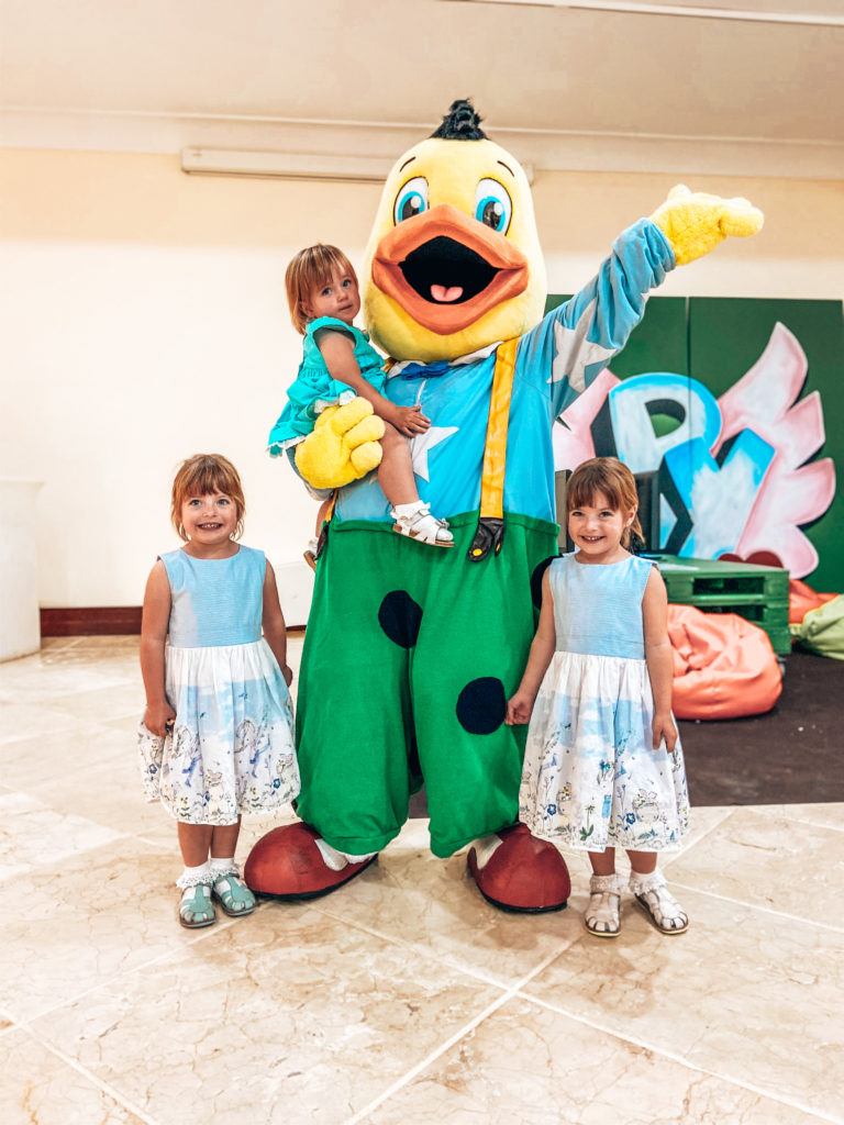 Kiko duck with twin girls and baby
