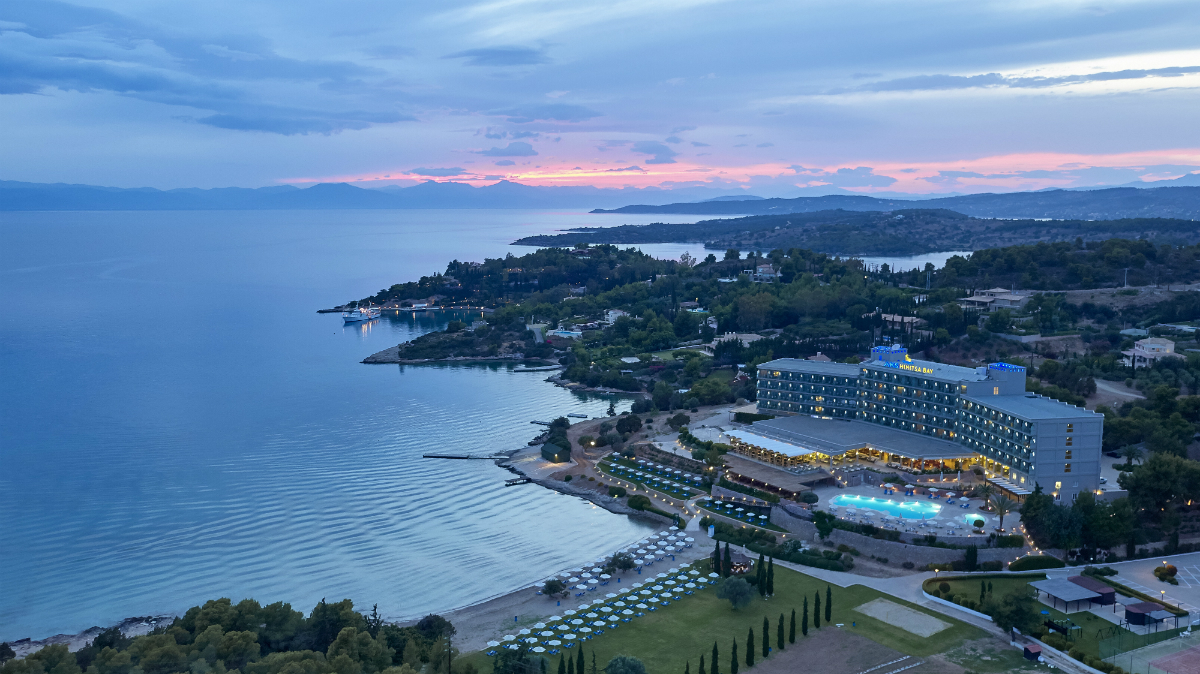 Ariel view of AKS Hinitsa Bay Hotel in Porto Heli at sunset